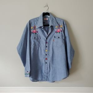 VINTAGE LEVI'S   Embroidered Button Down Shirt XL